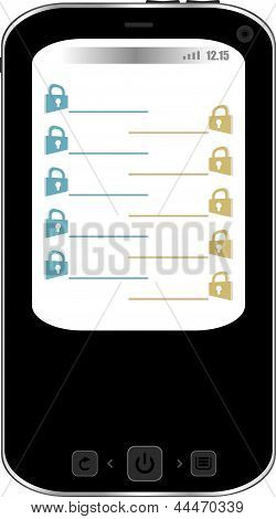 Phone With Padlock Set On Display. Mobile Security Concept. Isolated