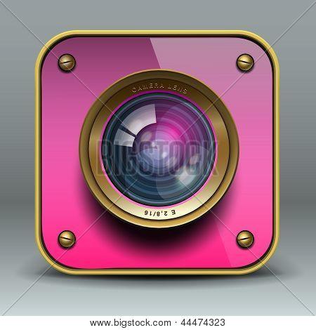 Pink photo camera icon