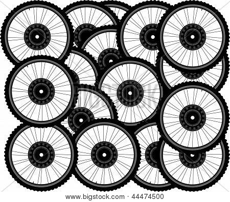 Bicycle Background From Many White Wheels