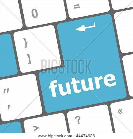Future Time Concept With Key On Computer Keyboard, art illustration