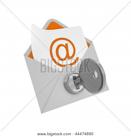 Envelope Mail With Key - Security Concept
