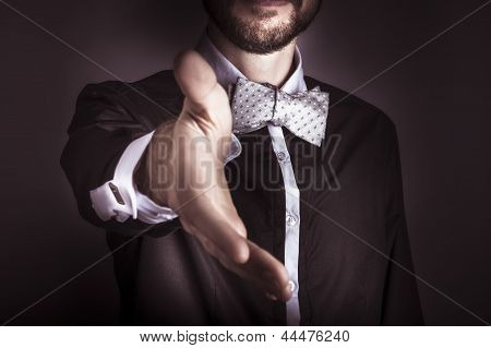 Polite Sophisticated Man Offering His Hand