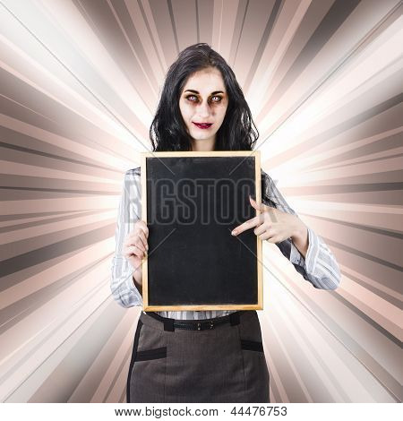 Sinister School Teacher Holding Empty Chalk Board