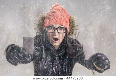 With Card In Snowfall