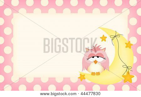 Baby girl label with owl dozing on the moon