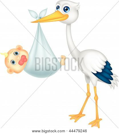 Cute stork carying baby cartoon