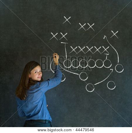 Woman With American Football Strategy On Blackboard