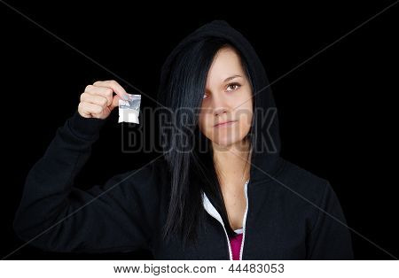 Young Woman Drug Addict Over Black