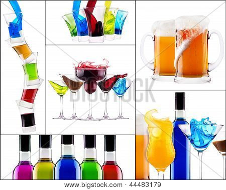 Fresh Alcohol Drinks Collage