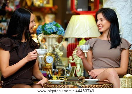 Two Elegant Ladies Have A Tea Break In Retro Cafe