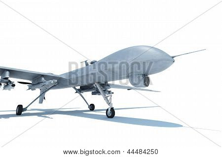 Military drone standing