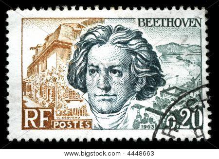 Vintage French Stamp Depicting Ludwig Van Beethoven