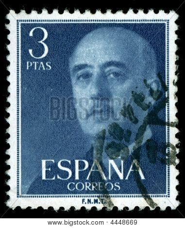 Vintage Stamp Depicting The Dictator General Francisco Franco