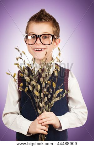 bespectacled boy in a hurry for a date with a bunch of willow