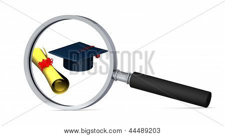 Graduation Cap And Scroll With Magnifying Glass On White Background