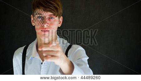 America Needs You American Flag On Face Man On Blackboard Background
