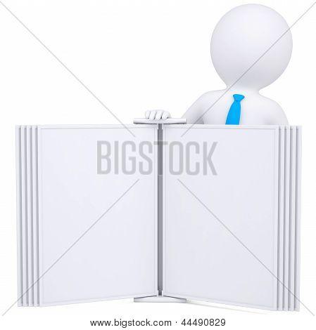 3d man holding an open book