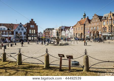 Market Place In Husum With Tine Fountain