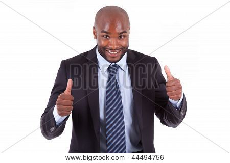 Black African American Business Man Making Thumbs Up - African People