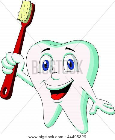 Cute tooth cartoon holding tooth brush