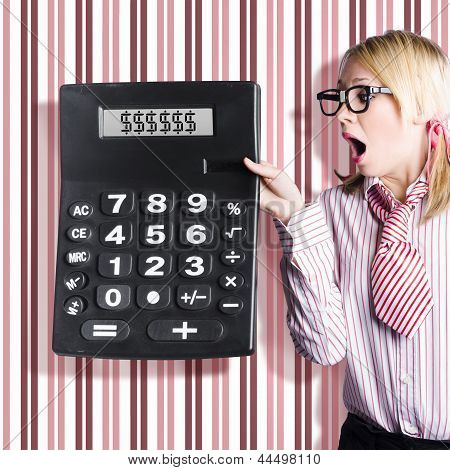 Business Woman Holding Money Savings Calculator