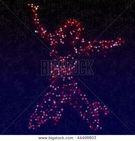 Woman Silhouette Made Of Stars