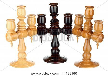 Three Wooden Candlesticks