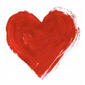 image of corazon  - Painting of big red heart over white background - JPG