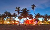 stock photo of restaurant  - Miami Beach Florida hotels and restaurants at sunset on Ocean Drive world famous destination for it - JPG