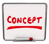 The word Concept written on a dry erase board with a red marker to show an idea, innovation or creat