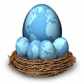 picture of save earth  - International investments and global finance savings business symbol with four blue eggs and a big one with maps of the world in a nest as a concept of long term retirement savings in regions as Asia North America Europe and Latin America - JPG