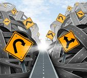 stock photo of leadership  - Clear strategic solution for business leadership with a straight path to success choosing the right strategy path with yellow traffic signs cutting through a maze of tangled roads and highways - JPG