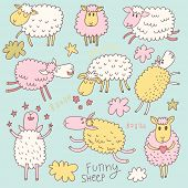 Funny cute sheep. Cartoon vector set in pastel colors.