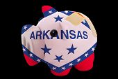 Bankrupt Piggy Rich Bank In Colors Of Flag Of American State Of Arkansas    Closed With Bandage