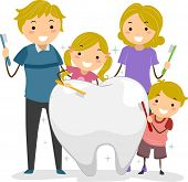 stock photo of family bonding  - Illustration of Stickman Family holding a Toothbrush cleaning a Big Tooth - JPG
