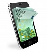 stock photo of tariff  - Smart phone with money concept - JPG