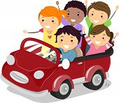 image of stickman  - Illustration of Stickman Kids riding a Toy Car - JPG