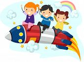 picture of playmates  - Illustration of Little Kids riding on a Rocket - JPG