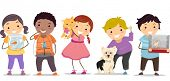 Illustration of Stickman Kids with their Pets