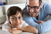 foto of daddy  - Portrait of young boy with daddy with eyeglasses on - JPG