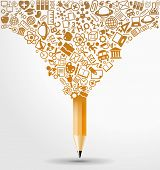 pic of explosion  - creative splash pencil with school icons set illustration - JPG