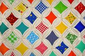 image of quilt  - Colorful Cathedral Window quilt design in muslin - JPG