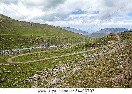 Winding road in Kirghizia