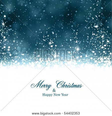 Dark blue winter abstract background. Christmas background with snowflakes and sparkles. Vector.