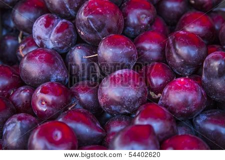 Ripe Organic Plums As Background or Texture