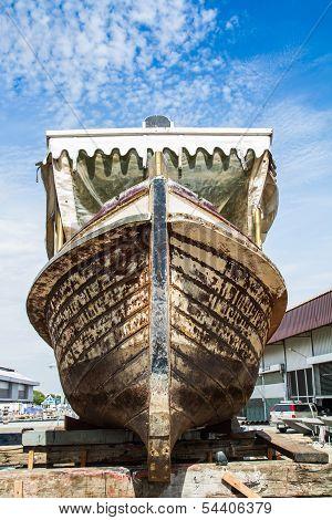 Boat under repair in dockyard