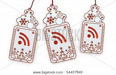 Isolated Christmas Labels With Wifi Sign