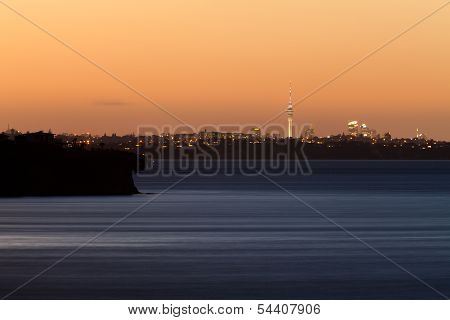Auckland Nz Distant Citylight Skyline After Sunset
