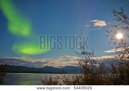 Aurora Borealis Full Moon Over Lake Laberge Yukon