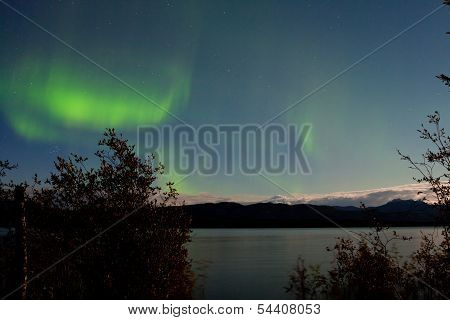 Northern Lights Moon-lit Clouds Over Lake Laberge